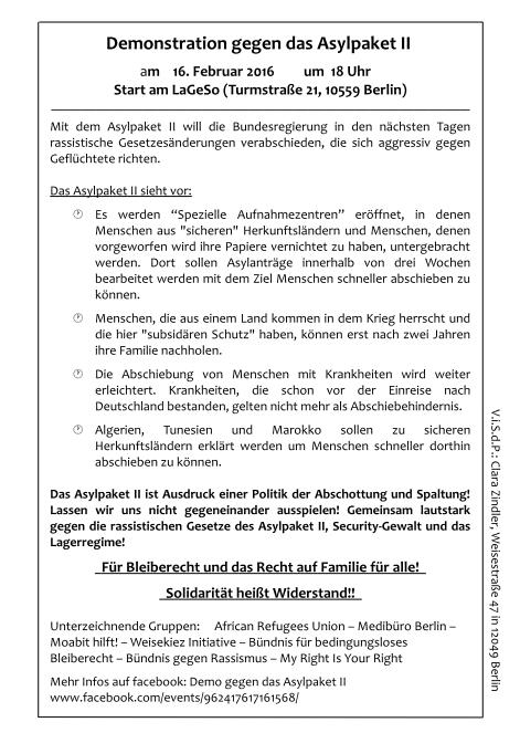Demoaufruf Asylpaket II